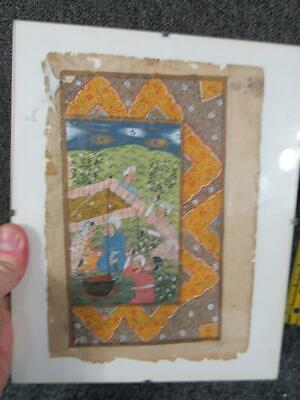 Antique Anglo Indian Mughal Hand Painted Manuscript Book Page