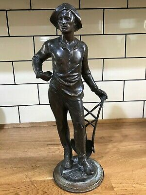 Antique / Vintage Spelter Figure Working Man / Farmer with Spade 43cm