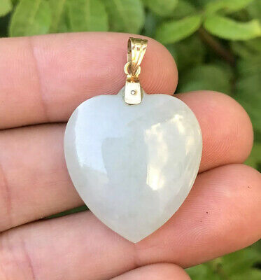 Old Chinese 14k Yellow Gold Translucent Nephrite Jade Carved Heart Pendant