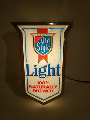 Vintage 1982 Heileman's Old Style Naturally Brewed Beer Advertising Lighted Sign