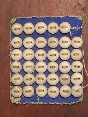 Antique Diminutive 2 Hole Shell Mother-of-Pearl DOLL BABY Buttons/original card
