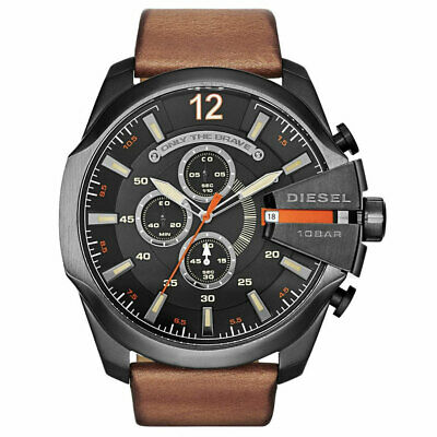 DIESEL DZ4343 Mega Chief Black Dial Brown Leather Men's Watch