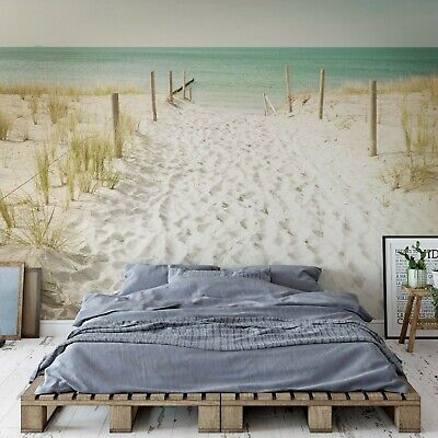 Pastel Colours Sandy Beach Photo Wallpaper Wall Mural Fleece Easy-Install Paper