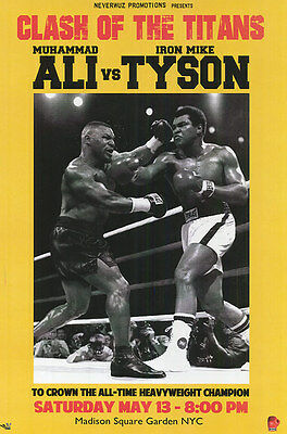 "Muhammad Ali vs Mike Tyson - Fight of the Century  -Boxing Poster ""24 x 36"" -NEW"