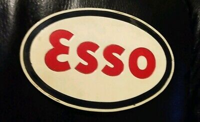 VINTAGE ESSO METAL SIGN GAS OIL Small Metal Esso Red white & Blue Oval Sign
