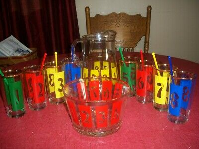 Mid Century Drinks By Numbers vintage 1950's Glass Barware-Complete Set