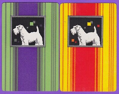2 Single VINTAGE Swap/Playing Cards TERRIER DOG STRIPED BACKGROUNDS