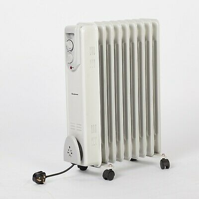 2000W Oil Radiator Filled Heater Electric Portable Space Thermostat Room Heat