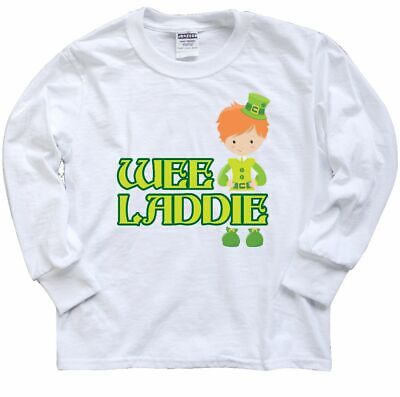 Inktastic Wee Laddie Youth Long Sleeve T-Shirt Patricks Day Red Hair Head Gift