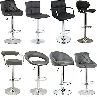 BLACK / GREY - Faux Leather Breakfast Bar Stool Swivel Kitchen Chrome Gas Lift