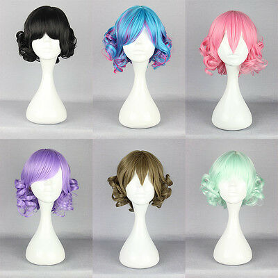 Harajuku Short Long Curly Wavy Hair Full Wigs Anime Cosplay Party Wig Hairpieces