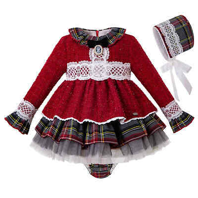 Baby Girl Christmas Lace Tartan Dress Cotton Long Sleeve Infant Christening Gown