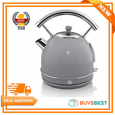 Swan Retro Fast Boil Dome Kettle, Large Size, 1.8 Litre, Grey  SK14630GRN