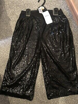 M&S Marks & Spencer Black Sequinned Culottes, 10-11years Old rrp: £22 FREE P&P