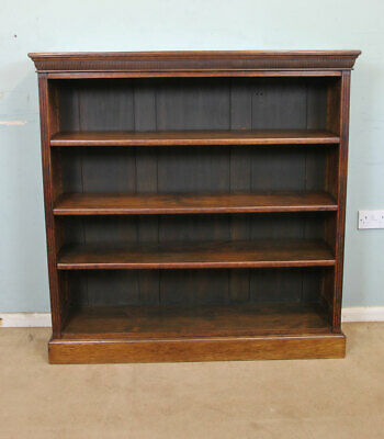 Antique Victorian Oak Open Bookcase / Book Shelves
