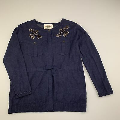Girls size 5-6, Zara, navy linen / cotton knit cardigan, EUC