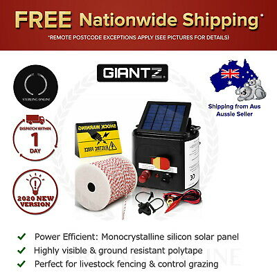 Giantz 5km Solar Electric Fence Energiser Charger Tape with 25pcs Insul 500M