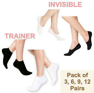 Pairs Mens Womens Trainer Liner Ankle Cotton Rich Sports Socks Size UK 6-11 Lot