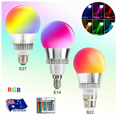 B22 E27 E14 RGB LED Globe Lamp Colour Changing Light Bulb+IR Remote Control Xmas