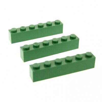 3 x Lego System Construction Stone Sand Green 1x6 Basic Brick for Set Star Wars