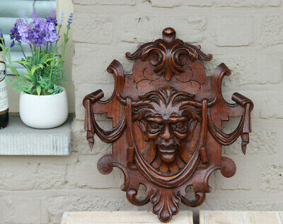 Antique 1900 BLACK FOREST wood carved devil Gothic head wall panel plaque