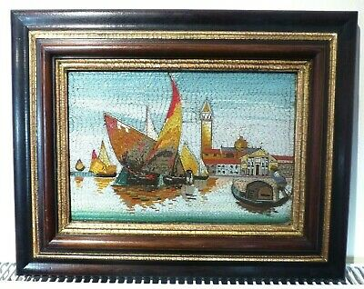 SUPERB Italian Very Large Antique Venice Micro Mosaic Panel Grand Canal - FRAMED