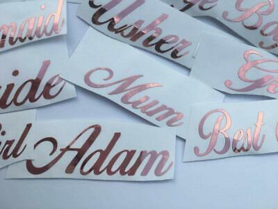 ROSE GOLD Name Sticker Vinyl Decal Baubles Wine Glass Hen Wedding Personalised