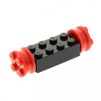 4 X Lego System Hard Plastic Wheel Rim Black Small Axis Hole Notched For Set 8