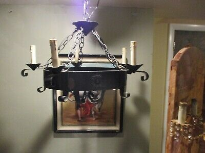 Vintage Spanish Revival / Gothic hand forged chandelier