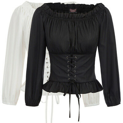 Womens Punk Steampunk Top Lace Up Gothic Victorian Off Shoulder Blouse