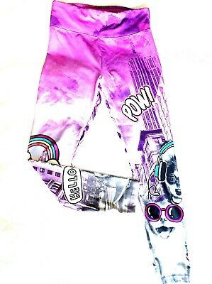 Justice Girls 18/ 20 Leggings Purple Cats Dogs Fashion Printed Pants Stretchy