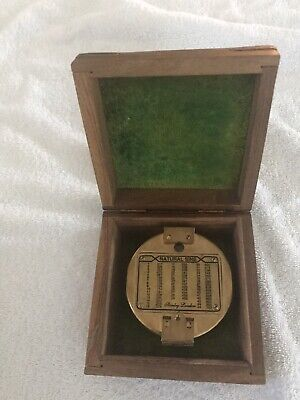 Vintage Antique Stanley London Nautical Brass Brunon Compass, Natural Sine, with