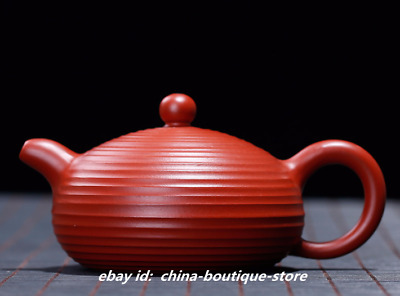 Chinese Yixing Zisha Dahongpao Clay Handmade Screw Thread Xishi Gongfu Teapot