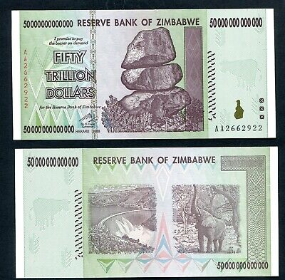 ZIMBABWE $ 50 TRILLION Dollar Banknotes AUTHENTIC GENUINE and GREAT PRICE P90