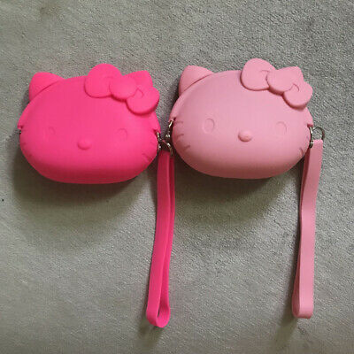 Cute 3D Hello Kitty Head Rubber Key Coin Purse Wallet with Strape Christmas Gift