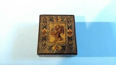 Antique Victorian Tunbridge Ware Stamp Box