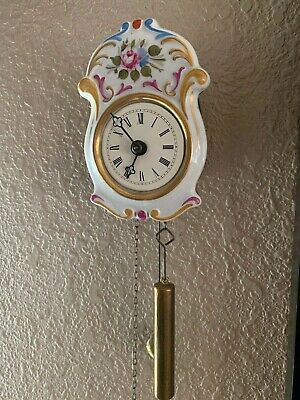 Antique Mini Porcelain Jockele Clock Germany