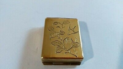 Antique Decorative Double Sided Brass Stamp Box