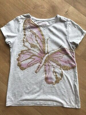 PRIMARK Girls Grey Butterfly T-Shirt Age 10-11 Years Great Condition