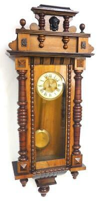 Antique German 8 Day Gong Striking Carved Mahogany & Walnut Vienna Wall Clock