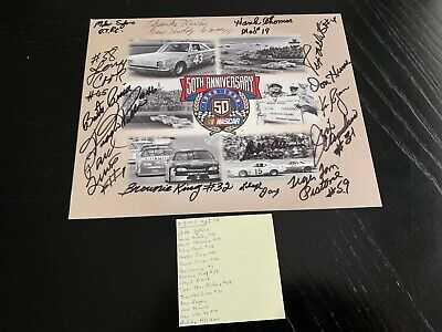 Vintage 1998 NASCAR 50th anniversary postcard hand signed by 15 racing legends