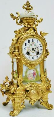 Antique French 8 Day Striking Gilt Metal & White Sevres Porcelain Mantel Clock