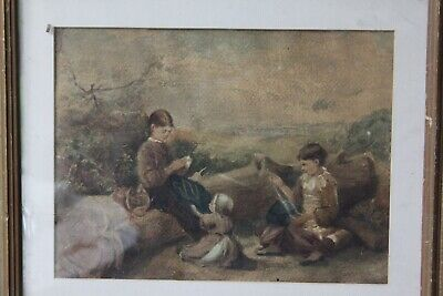 Original Old Antique 19th Century Victorian Watercolour Painting Childrens