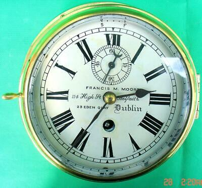 Francis M Moore Antique Irish Marine 8 Day Chain Fusee Ships Clock Just Serviced