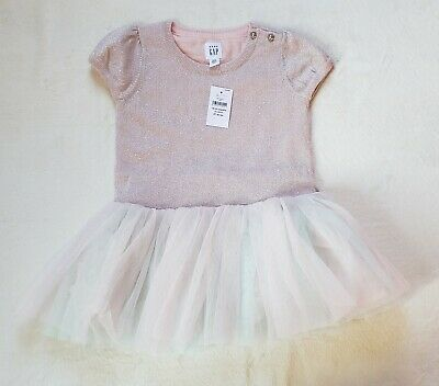 Baby Gap Baby Girl Spring Easter Pink Tutu Shimmer Dress 18-24 Mos New With...