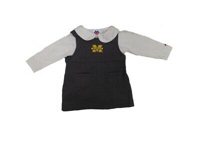 Michigan Wolverines Infant Girls Two Tone Long Sleeve Romper Skirt