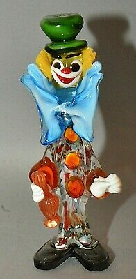 "Vintage Italian Murano Multicolored Glass Clown Figurine Green Top Hat 13"" Tall"