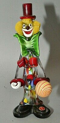 "Vintage Italian Murano Multicolored Glass Clown Figurine Striped Ball 10"" Tall"