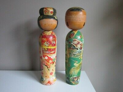 Pair Of Antique Japanese Kokeshi Dolls 14 Inches Tall