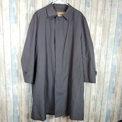 Austin Reed Men's Jacket Coat Trench 44R gray button down removable lining